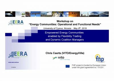 Energy Communities 2019, Empowered Energy Communities enabled by Flexibility Trading and Dynamic Coalition Managers